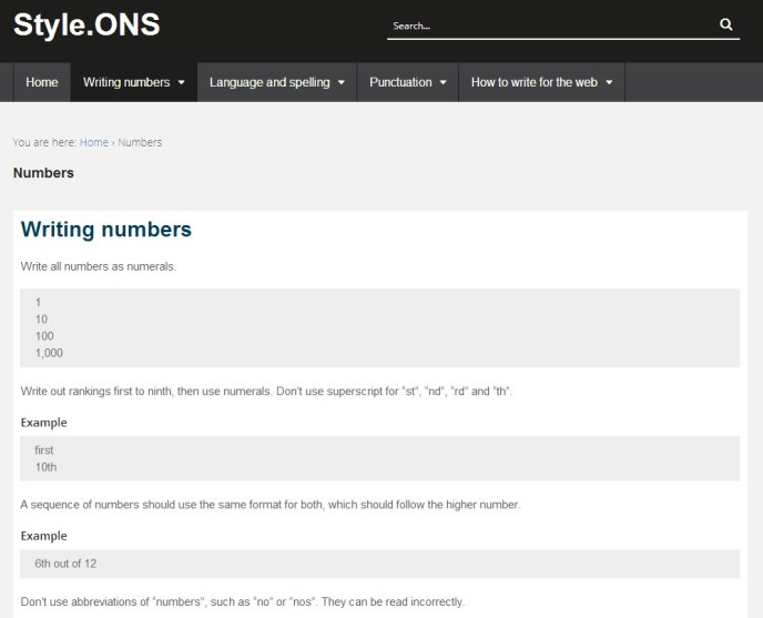 Screenshot of the 'writing numbers' section on Style.ONS