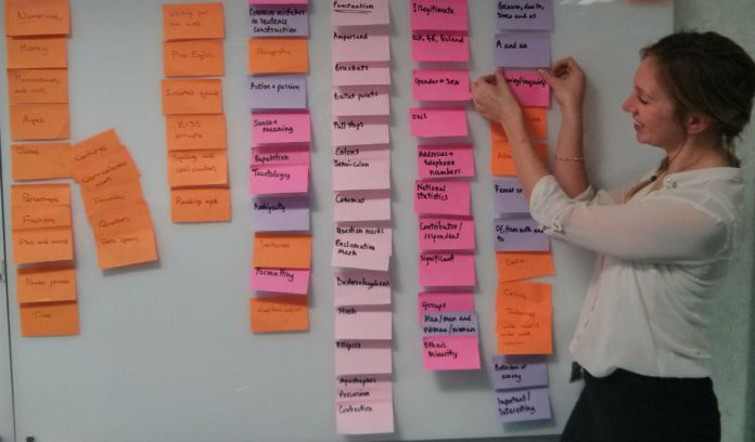 Woman drafting a new navigation structure using post-it notes on a board