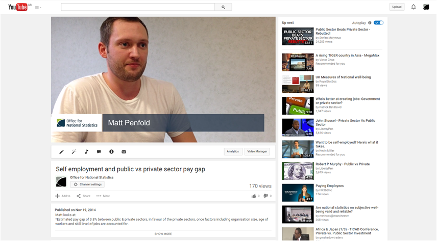 Screenshot of head shot style YouTube video
