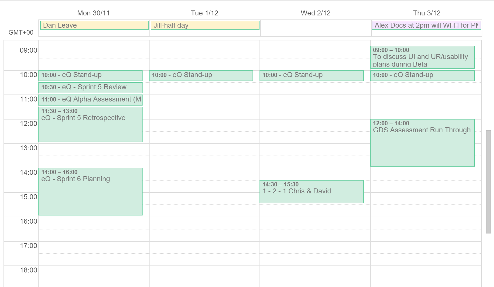 eQ Alpha Google Calendar Screenshot