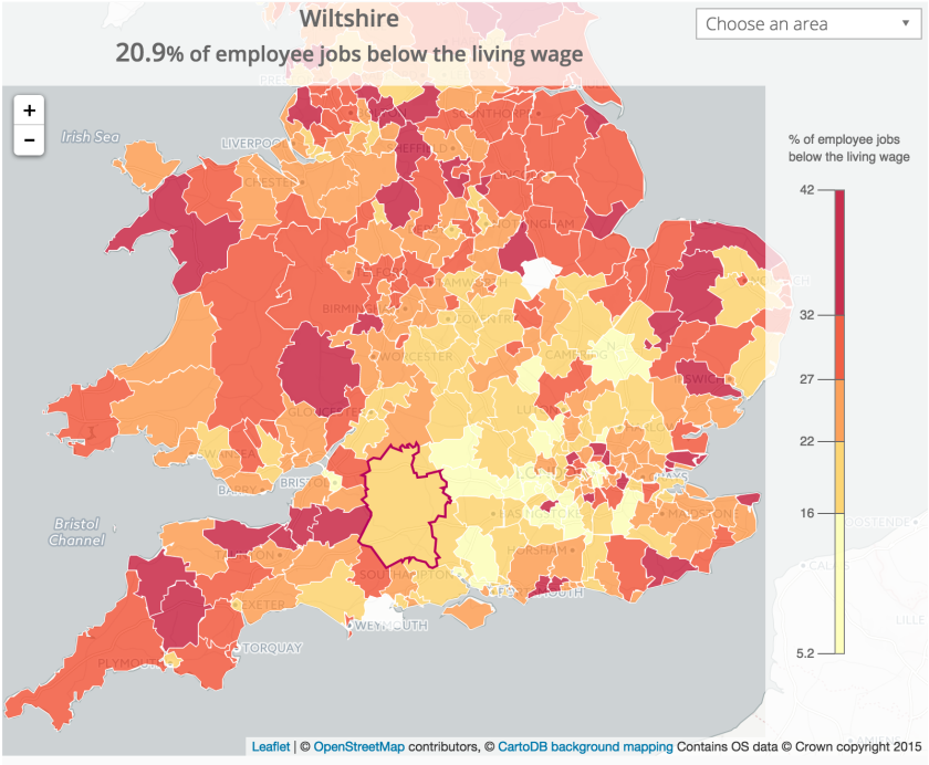 How many jobs are paid less than the minimum wage in your area?
