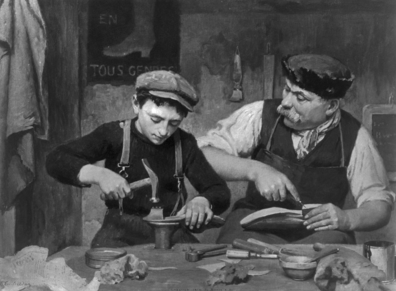 Apprentice. Man and boy making shoes