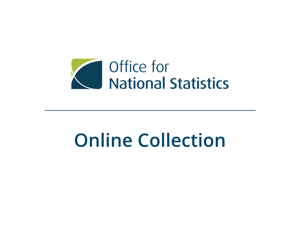 "Presentation slide with ONS logo and the title ""Online Collection"""