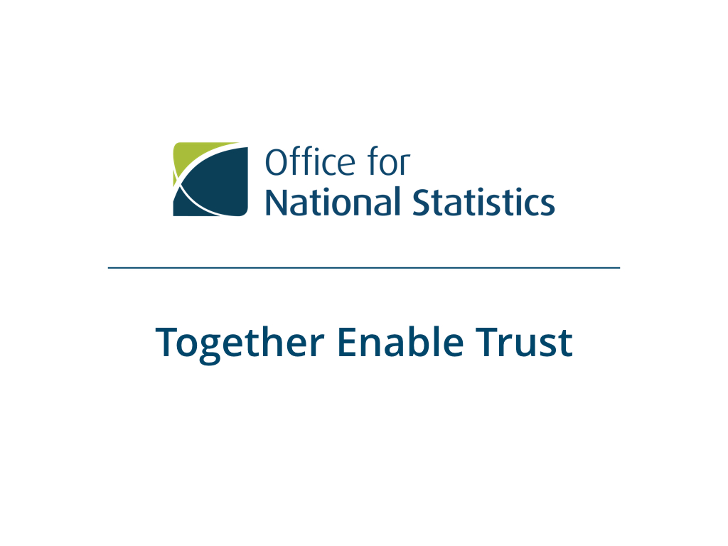 "Presentation slide with ONS logo and the subtitle ""Together Enable Trust"""