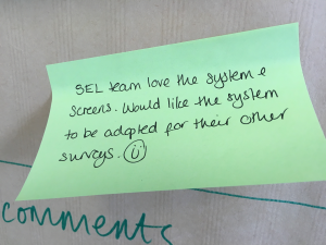 Post It Note with positive feedback from the Survey Enquiry Line team